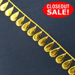 CLOSEOUT! 10 yards Gold Teardrop Shape Plastic Trim , COT-106