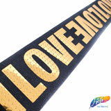 "1 1/2"" LOVE Metallic Sequins Elastic, EST-002"