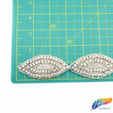 "1 3/8"" Marquise Beaded Crystal Rhinestone Trim by the piece (34"" long), BRT-022"
