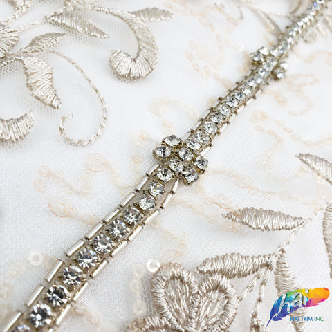 "1/2"" Beaded Rhinestone Trim by the piece (1 yard), BRT-003"