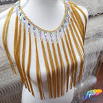 "11"" Chain Tassel Fringe with Crystal AB Teardrop Stones, CF-008"