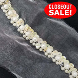 CLOSEOUT! 5 yards Off White Pearls and Sequins Trim on White Mesh , COT-009