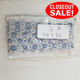 CLOSEOUT! 8 yards White and Blue Rhinestone Trim on White Mesh , COT-013