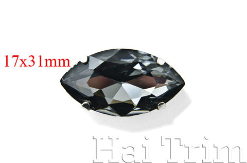 17x31mm Black Diamond Navette Sew-on Rhinestones w/ Metal Setting