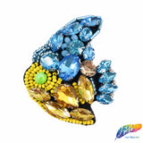 Fish Rhinestone Beaded Applique with Pearls and Felt Backing, Perfect for Hats, Clothes, Jackets or Accessories, DIY,  BA-033