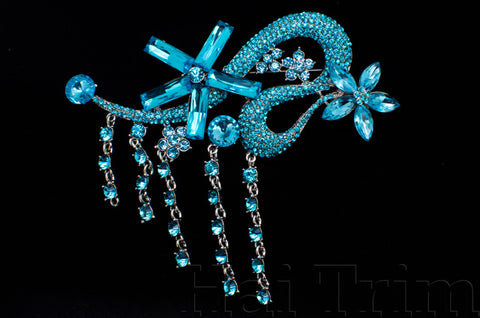 SALE! Crystal Rhinestone Brooch with Fringe, BRS01-045