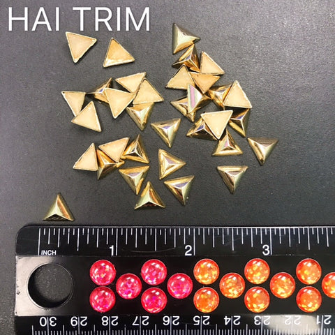 10mm Gold Triangle Iron On Studs, K-027