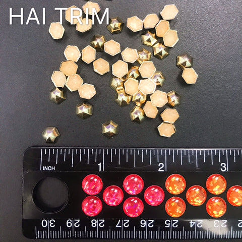 8mm Dome Hexagon Iron On Studs, K-038