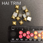 10mm Pyramid Cut Square Iron On Studs, K-021