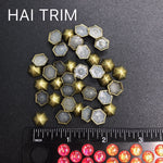10mm Dome Hexagon Iron On Studs, K-039