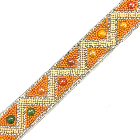 "1 1/4"" Colorful Beaded Iron On Trim , IRT-110"