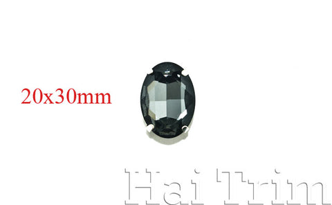 20x30mm Black Diamond Oval Sew-on Rhinestones w/ Metal Setting