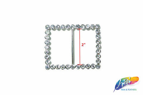 "2"" Rectangle Rhinestone Buckle with Bar, RB-004"