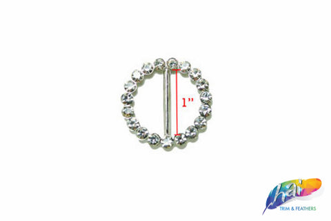 "1"" Round Rhinestone Buckle with Bar, RB-009"