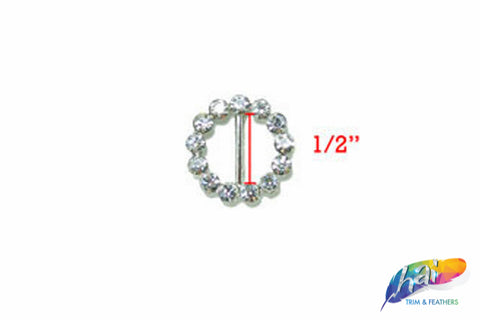 "1/2"" Round Rhinestone Buckle with Bar, RB-013"