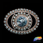 Crystal Oval Rhinestone Buckle with Glass Stone, RB-050