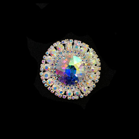 "2"" Crystal Round Rhinestone Buckle with Glass Stone, RB-051"