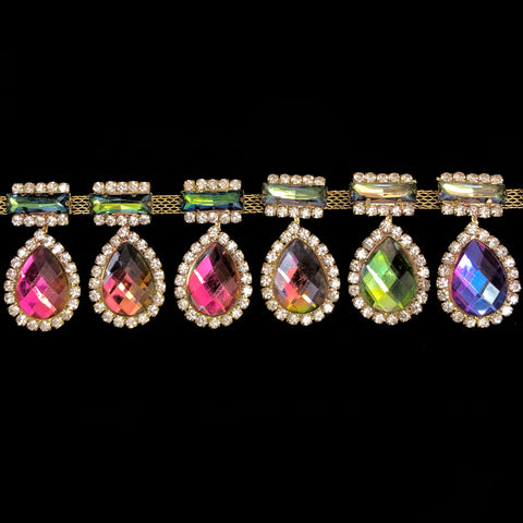 "SALE! 2"" Multicolor/Vitrail Medium Teardrop Rhinestone Fringe, RF-106"