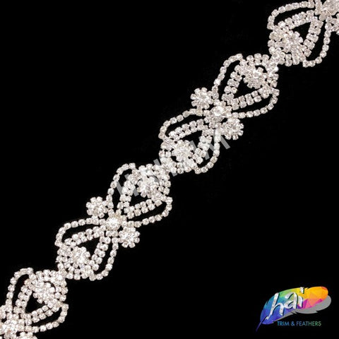 "1 1/4"" Silver/Crystal Bow Crystal Rhinestone Trim, RT-034"