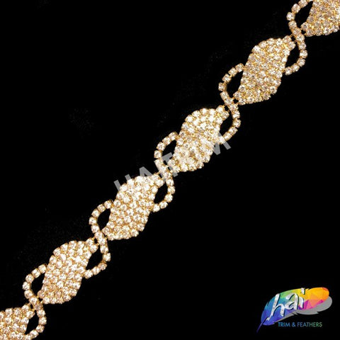 "SALE! 7/8"" S-shape Gold/Crystal Rhinestone Trim, RT-045"