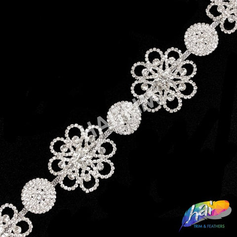 2'' Flower Rhinestone Crystal Trim , RT-106