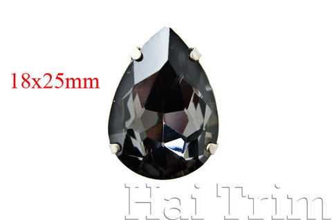 18x25mm Black Diamond Teardrop Sew-on Rhinestones w/ Metal Setting