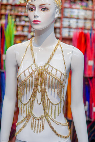 Gold Body Chain Top with Chain Tassels, RD-060