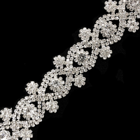 "1 1/8"" Infinity Flower Crystal Rhinestone Trim, RT-024"