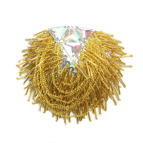 Beaded Chain Epaulet with Crystal AB Triangle Stones, EP-027 (sold per piece)