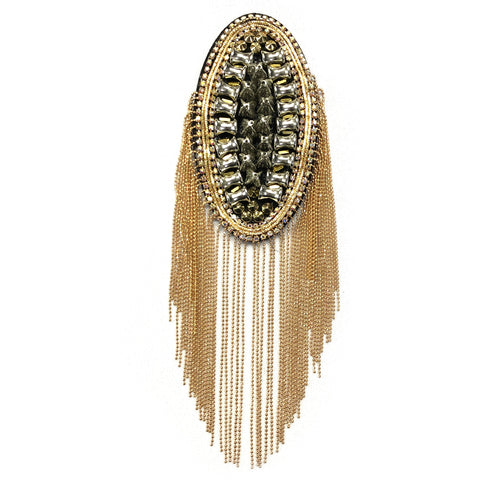 Studded Rhinestone Epaulet with Ball Chain Tassel, EP-031 (sold per piece)