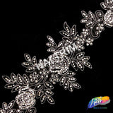 "4 3/8"" Metallic Leaf Flower Embroidered Trim with Rhinestones, EMB-32"