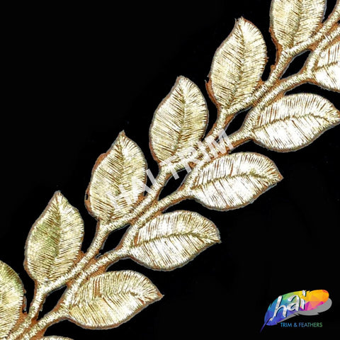 "1 1/2"" Metallic Leaf Embroidered Trim, EMB-17"