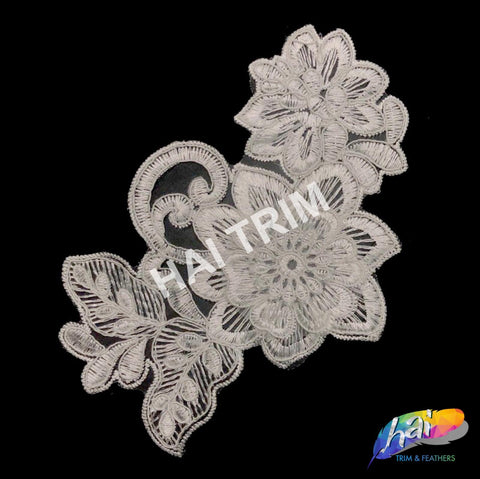 Flower Lace Applique, Embroidered Flower Lace Patch for Wedding and Formal Wear, LAP-03