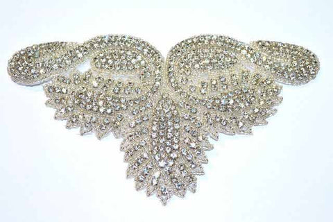 Beaded Rhinestone Applique, Wedding Formal Prom Crystal Patch, RA-002
