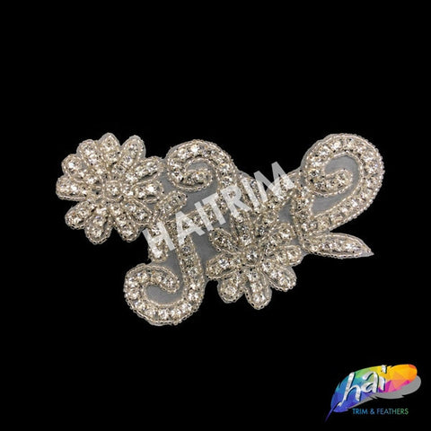 Beaded Rhinestone Applique, Wedding Formal Prom Crystal Patch, RA-010