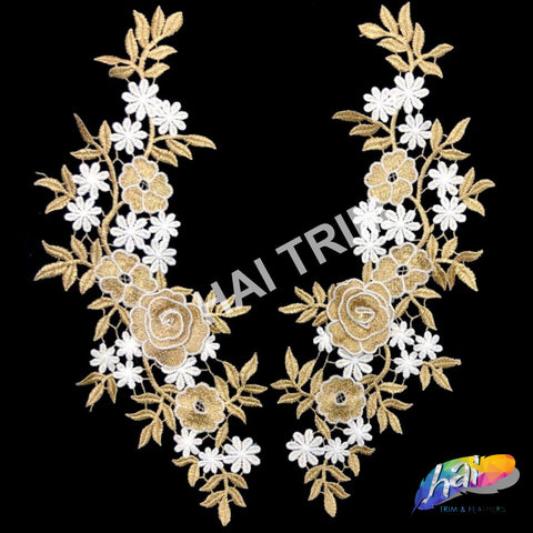 Lace Applique, Embroidered Flower Lace Patch for Wedding and Formal Wear, LAP-35