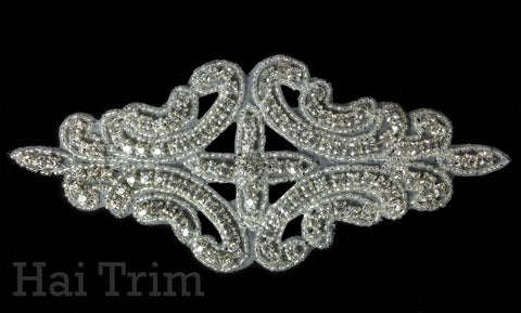 Beaded Rhinestone Applique, Wedding Formal Prom Crystal Patch, RA-035