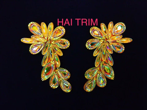 Beaded Stone Applique, Colorful Resin Gems Patch, Dance Broadway Carnival Costume Headpiece Waist Centerpiece, NAS-31