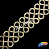 "2 1/2"" Metallic Infinity Embroidered Trim, EMB-06"