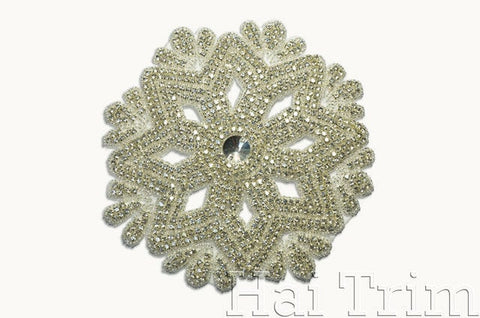 SALE! Beaded Rhinestone Applique, Wedding Formal Prom Crystal Patch, RA-201