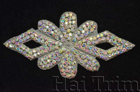 Beaded Rhinestone Applique, Wedding Formal Prom Crystal Patch, RA-212