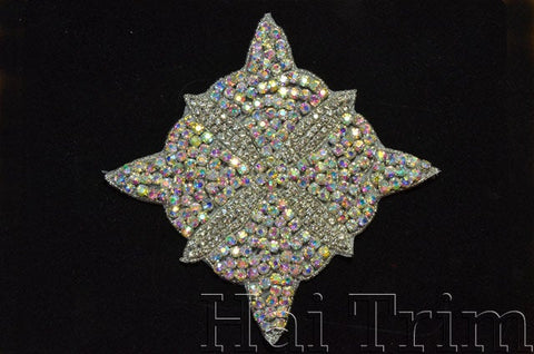 Beaded Rhinestone Applique, Wedding Formal Prom Crystal Patch, RA-216