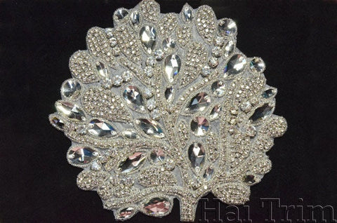 Beaded Rhinestone Applique, Wedding Formal Prom Crystal Patch, RA-218