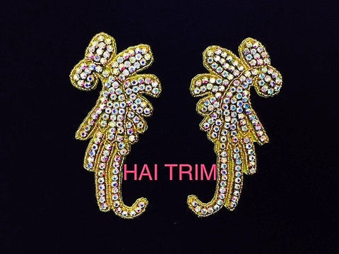 Beaded Rhinestone Applique, Wedding Formal Prom Crystal Patch by the Pair, RA-247