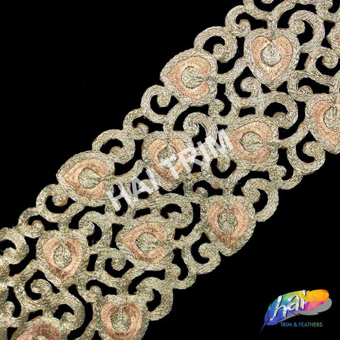 "4 1/2"" Metallic Gold/Rose Gold Heart Embroidered Trim, EMB-50"