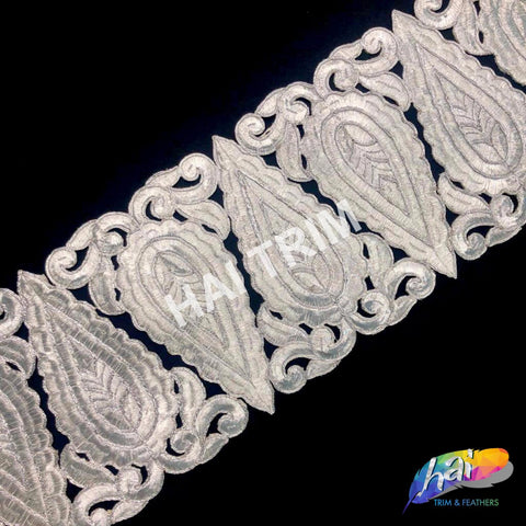 "5 1/2"" Metallic Silver Fancy Triangle Embroidered Trim, EMB-50"