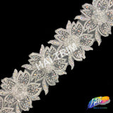 "3"" Lace Flower Embroidered Trim with Rhinestones, EMB-36"