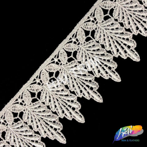 "2 5/8"" Metallic Silver Dangling Leaf Embroidered Trim, EMB-42"