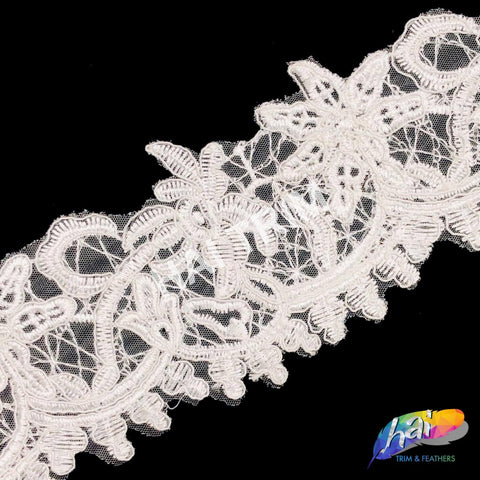 "4"" White Embroidered Lace Trim, EMB-46"
