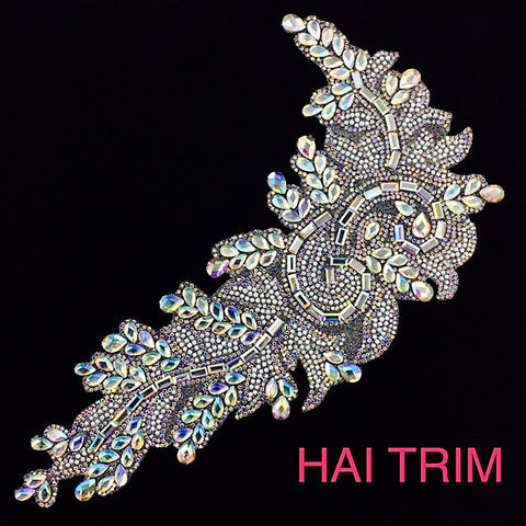 Gel-Back Rhinestone Appliques, Colored Iron-on Crystal Rhinestone Patches, IRA-031